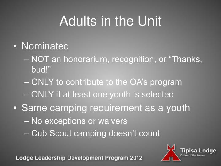 Adults in the Unit