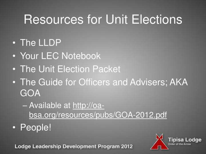Resources for unit elections