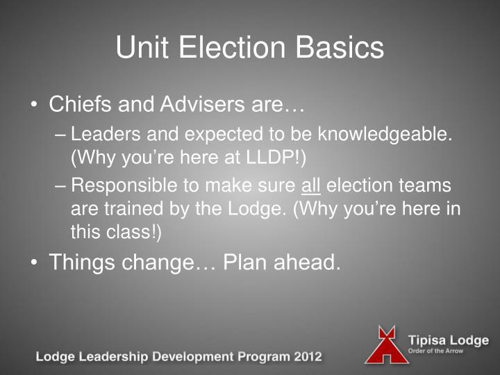 Unit election basics