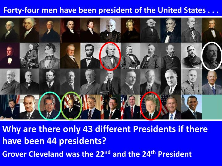 Forty-four men have been president of the United States . . .