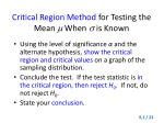 critical region method for testing the mean when is known1