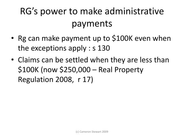 RG's power to make administrative payments