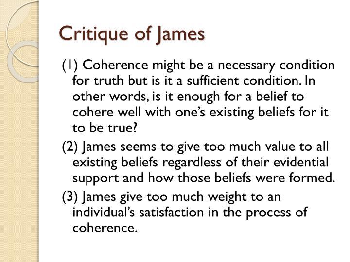Critique of James