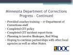 minnesota department of corrections progress continued