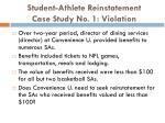 student athlete reinstatement case study no 1 violation