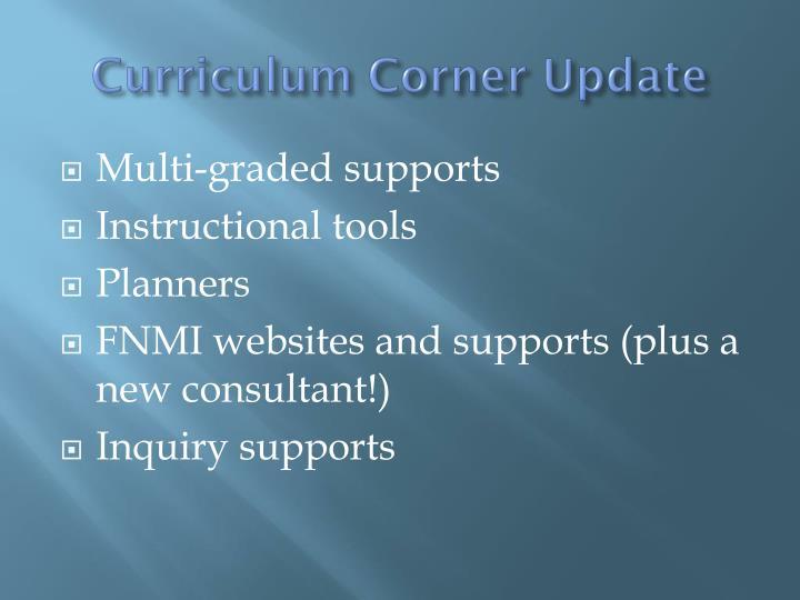 Curriculum Corner Update