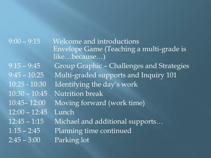 9:00 – 9:15    Welcome and introductions