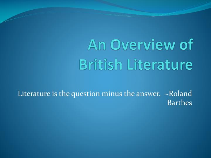 literature is the question minus the answer