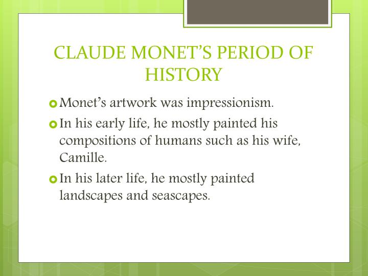 an analysis of the life of claude monet and his painting woman with a parasol Claude monet is known for a number of paintings, including the waterlilies series painted in his garden—the flowers were some of his favorite subjects he often also painted camille, who.