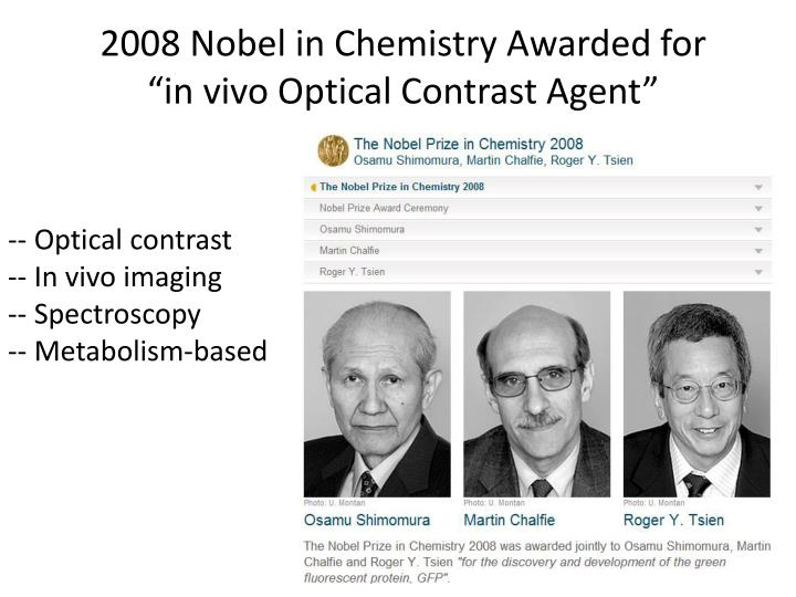 2008 Nobel in Chemistry Awarded for