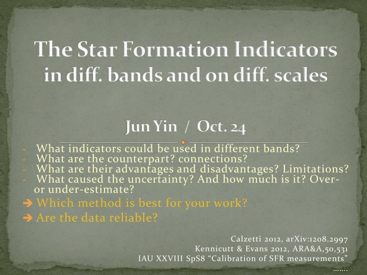 the star formation indicators in diff bands and on diff scales jun yin oct 24 n.