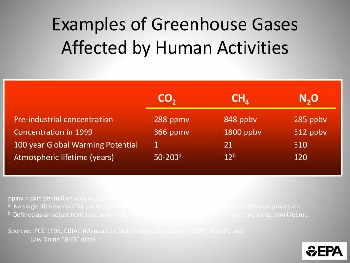 Examples of Greenhouse Gases Affected by Human Activities