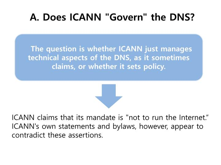 "A. Does ICANN ""Govern"" the DNS?"
