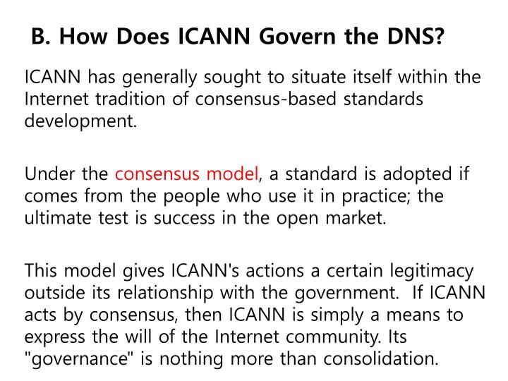 B. How Does ICANN Govern the DNS?