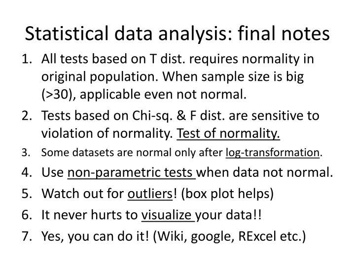 Statistical data analysis: final notes