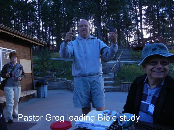 Pastor Greg leading Bible study