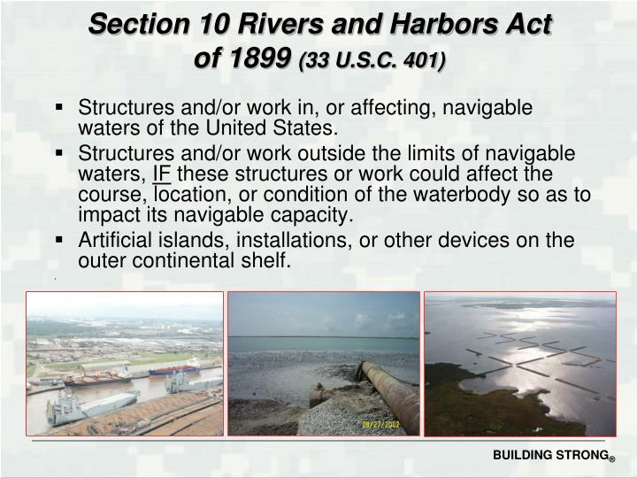 Ppt department of army permitting process dredging powerpoint section 10 rivers and harbors actof 1899 33 usc 401 publicscrutiny Images