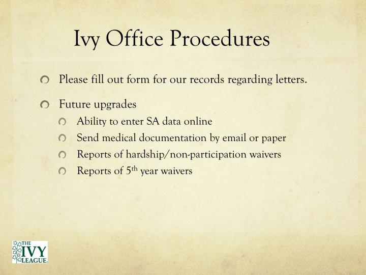 Ivy Office Procedures