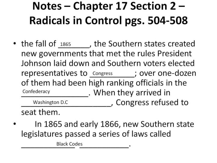 Notes – Chapter 17 Section 2 – Radicals in Control pgs. 504-508