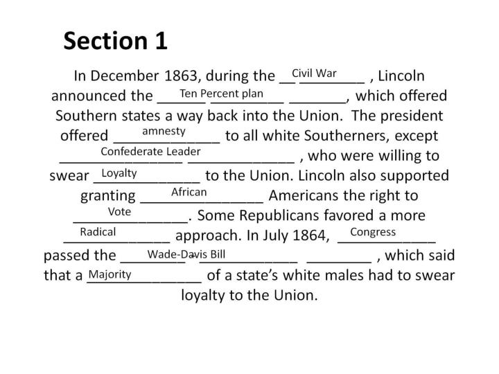 In December 1863, during the __ ________ , Lincoln announced the ______ _________ _______, which off...