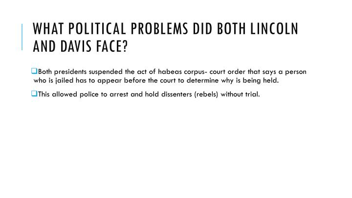 What Political problems did both Lincoln and Davis face?