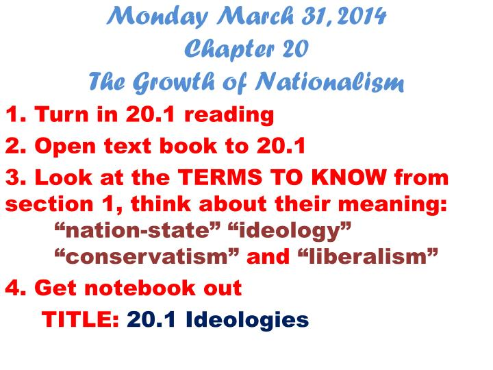 Monday march 31 2014 chapter 20 the growth of nationalism
