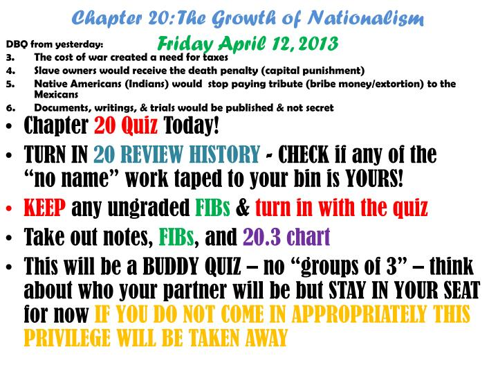 Chapter 20: The Growth of Nationalism