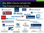 our 800 clients include the top financial service firms
