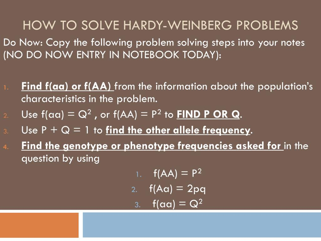 Ppt How To Solve Hardy Weinberg Problems Powerpoint Presentation
