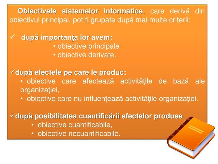 Obiectivele sistemelor informatice