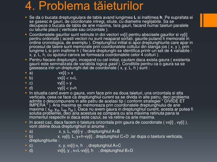 4. Problema tăieturilor