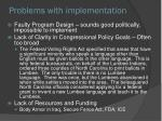 problems with implementation