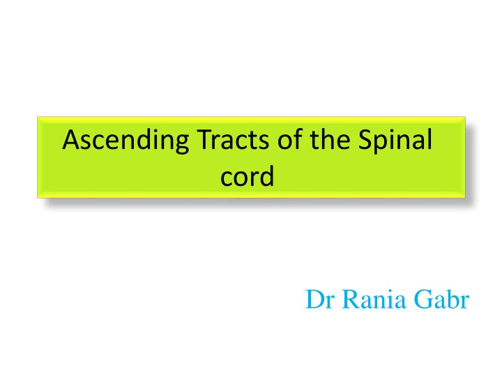 Ascending tracts of the spinal cord
