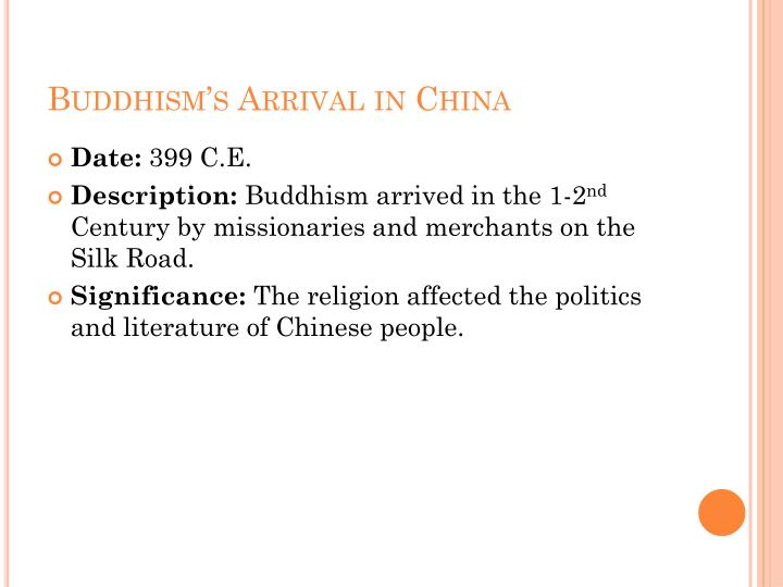Buddhism's Arrival in China