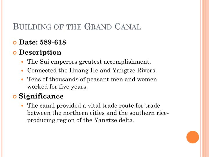 Building of the Grand Canal