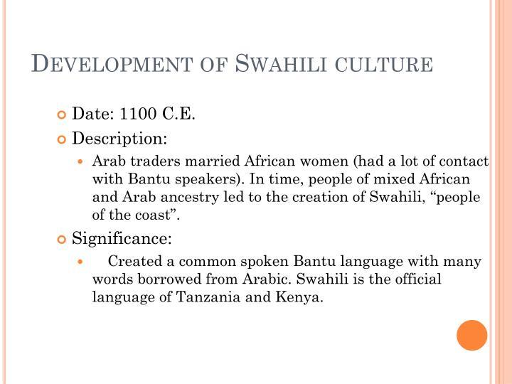 Development of Swahili culture