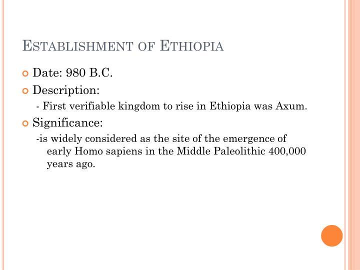 Establishment of Ethiopia