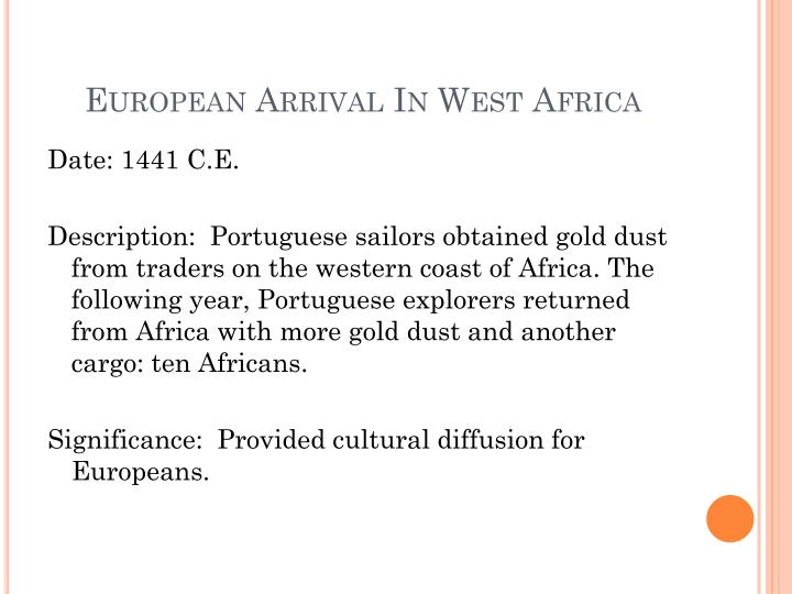 European Arrival In West Africa