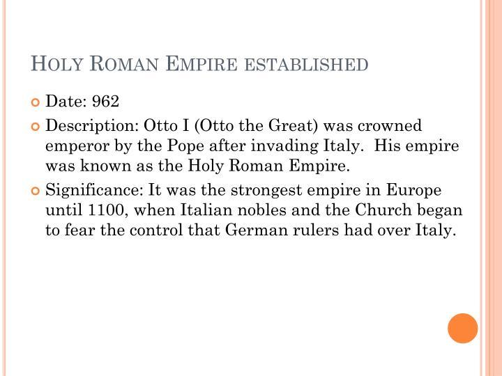 Holy Roman Empire established