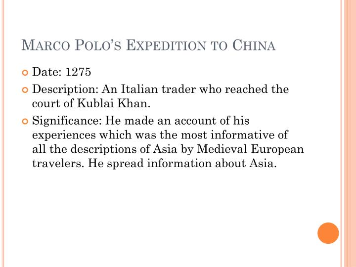 Marco Polo's Expedition to China