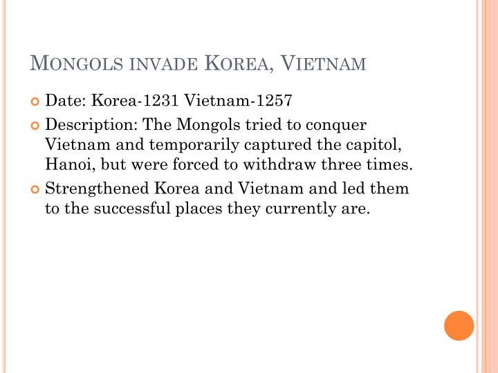 Mongols invade Korea, Vietnam
