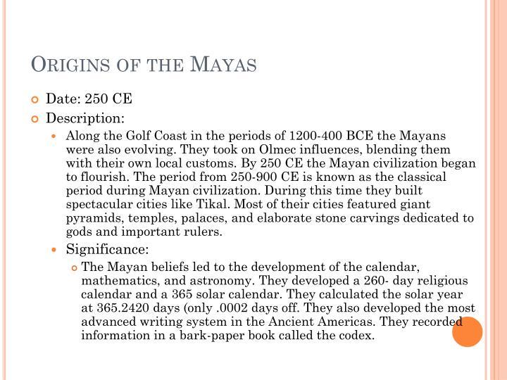 Origins of the Mayas