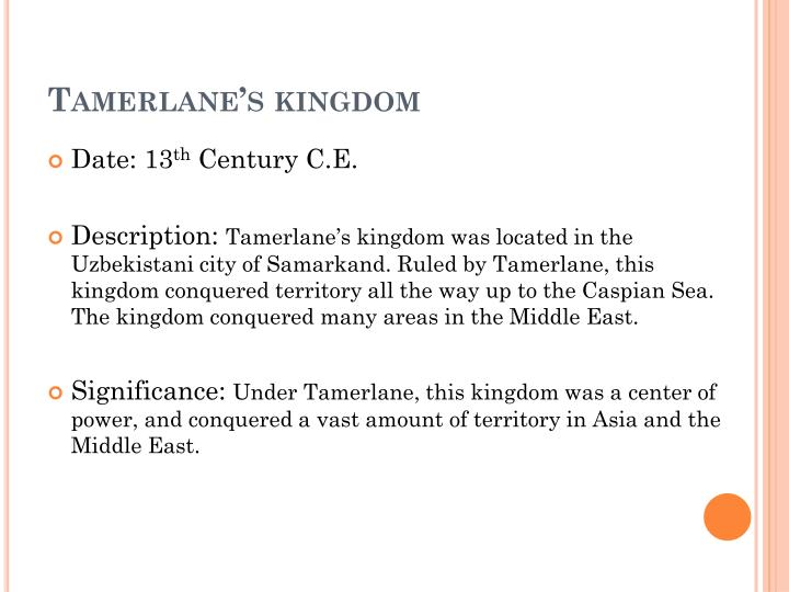 Tamerlane's kingdom