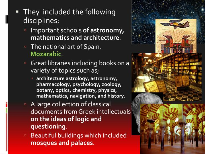 They  included the following disciplines: