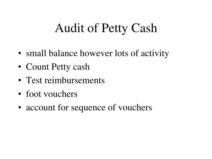 Audit of Petty Cash