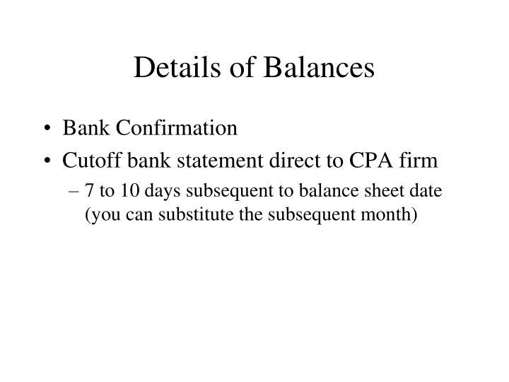 Details of Balances