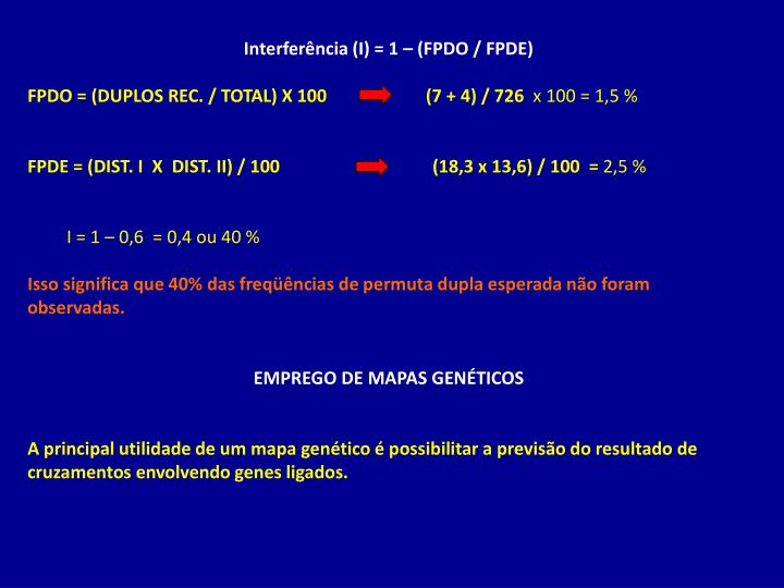 Interferência (I) = 1