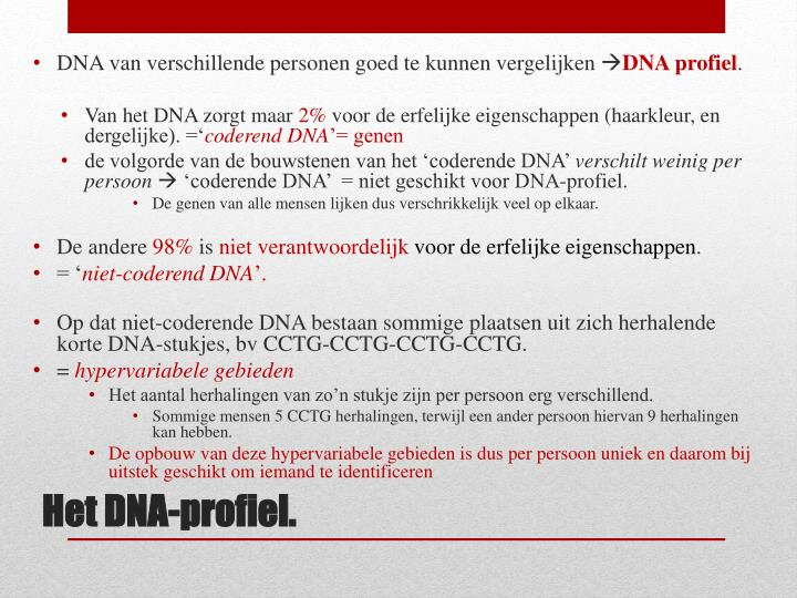 DNA van verschillende personen goed te