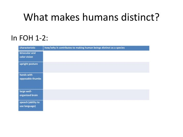 What makes humans distinct
