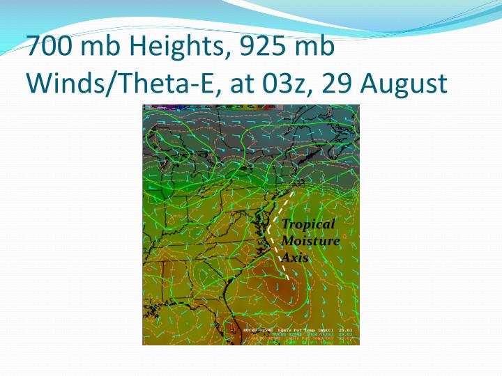 700 mb Heights, 925 mb Winds/Theta-E, at 03z, 29 August